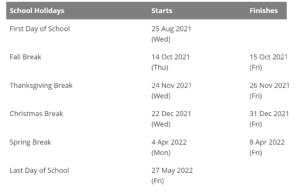 Weber School District Holidays Calendar 2021-2022