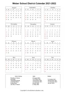Weber School District, Utah Calendar Holidays 2021-2022