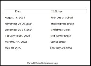 Anchorage County School District Proposed Calendar 2021-2022