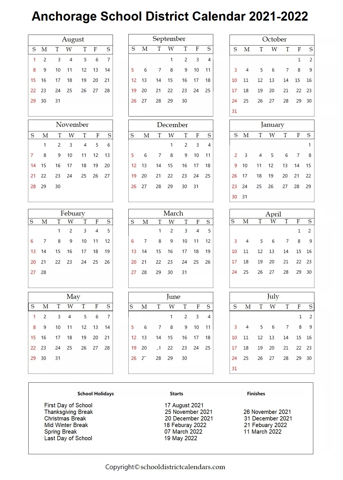 Anchorage School District, Alaska Calendar Holidays 2021-2022