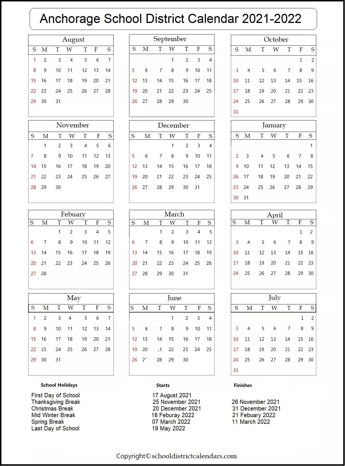 Anchorage School District Calendar 2021-2022