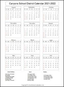 Canyons School District Calendar 2021-2022