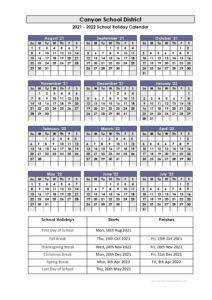 Canyons School District Holidays Calendar 2021-2022