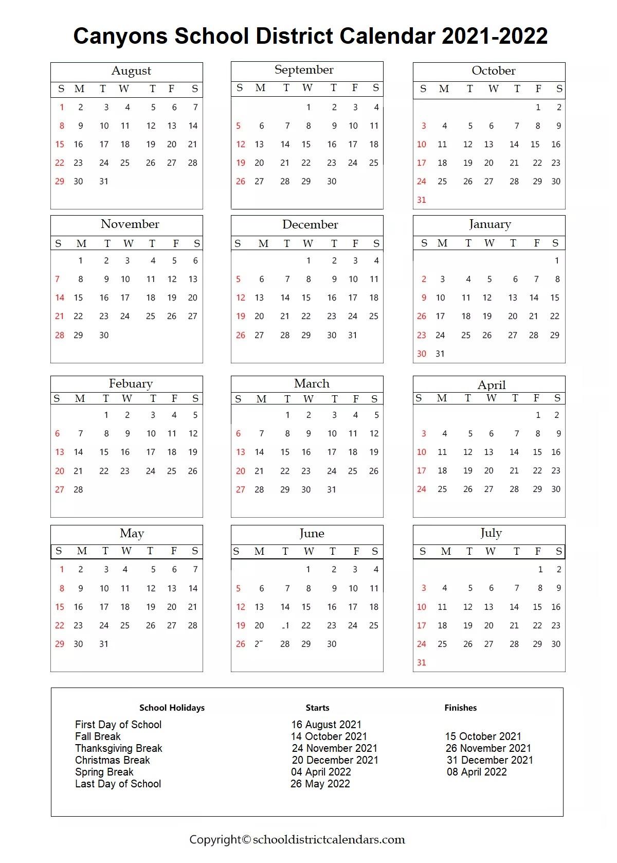 Canyons School District, Utah Calendar Holidays 2021-2022