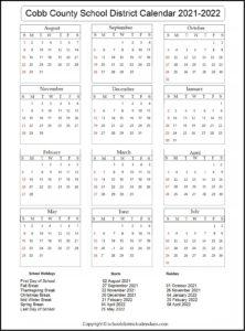 Cobb County School District Calendar 2021-2022