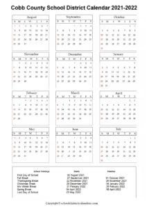 Cobb County School District, Georgia Calendar Holidays 2021-2022