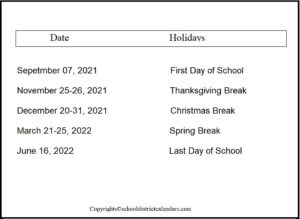 Douglas County School District Proposed Calendar 2021-2022