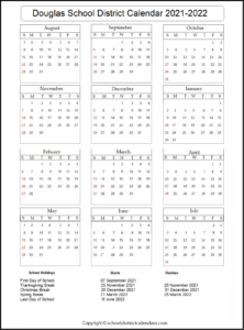 Douglas School District 2021-2022 Calendar