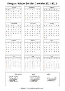 Douglas School District, Georgia Calendar Holidays 2021-2022
