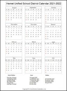 Hemet Unified School District Calendar 2021-2022