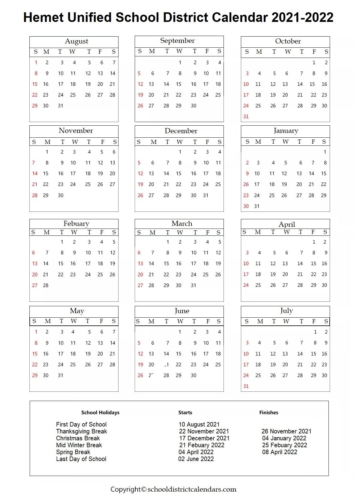 Hemet Unified School District, Hemet Calendar Holidays 2021-2022