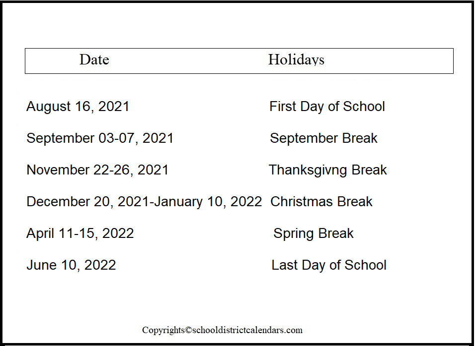 Los Angeles Unified County School District Proposed Calendar 2021-2022