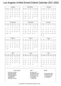 Los Angeles Unified School District, California Calendar Holidays 2021-2022