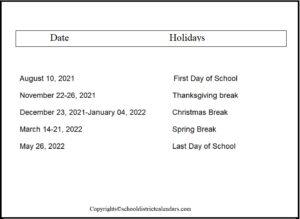Palm Beach County School District Proposed Calendar 2021-2022