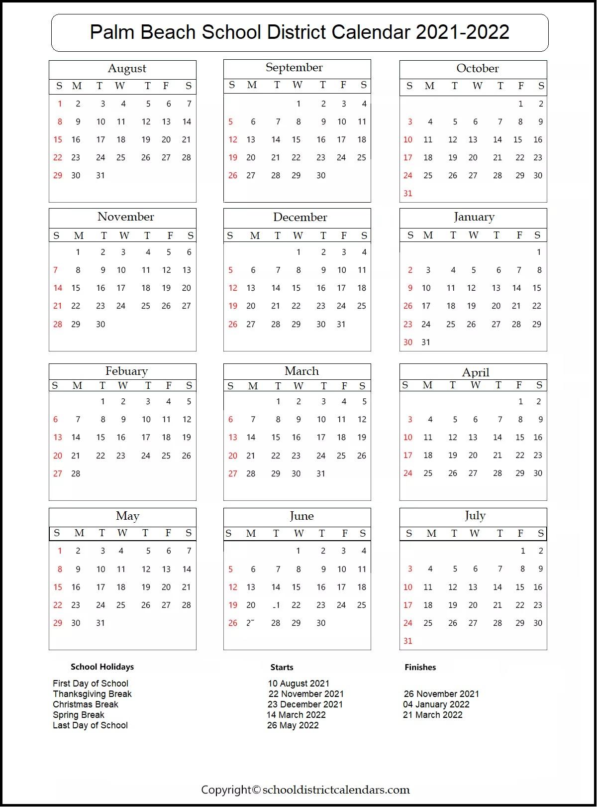 Palm Beach School District Calendar 2021-2022