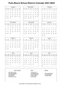 Palm Beach School District, Florida Calendar Holidays 2021-2022