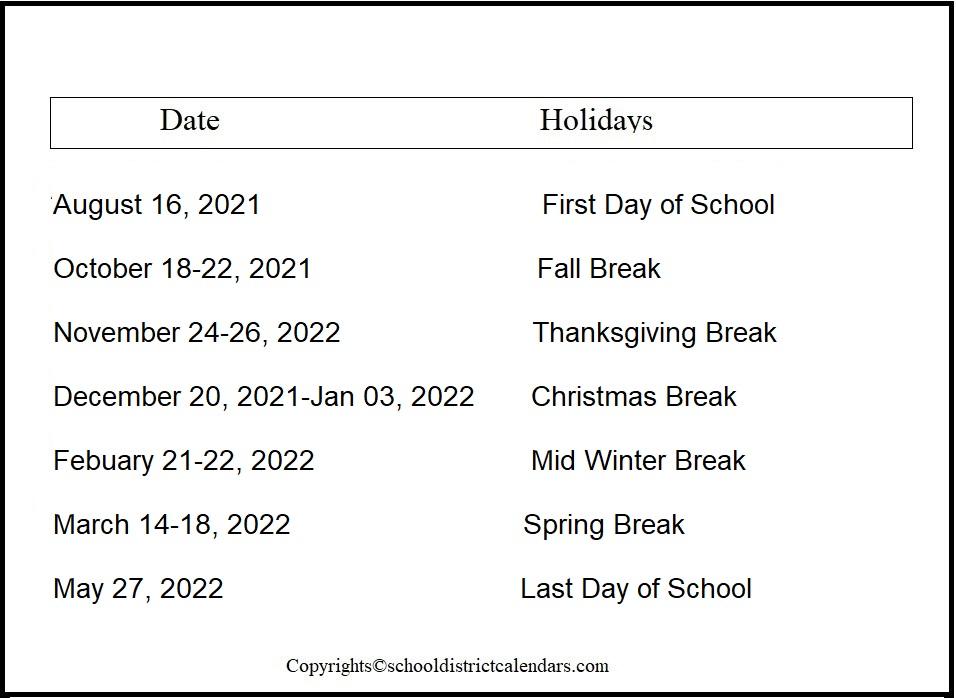 Cherry Creek County School District Proposed Calendar 2021-2022