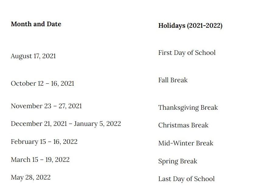 Cherry Creek School District 2021-2022 Holidays Calendar