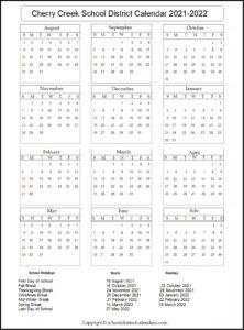 Cherry Creek School District Calendar 2021-2022