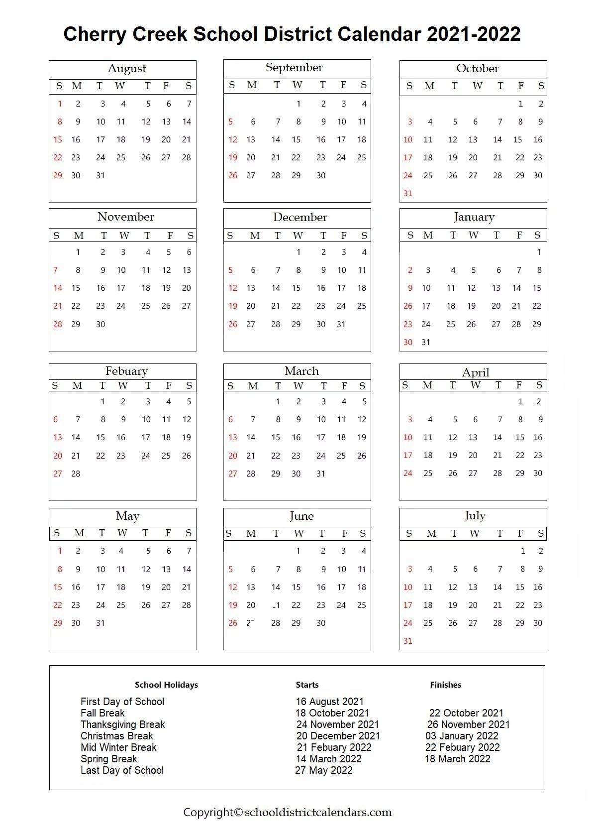 Cherry Creek School District, Colorado Calendar Holidays 2021-2022