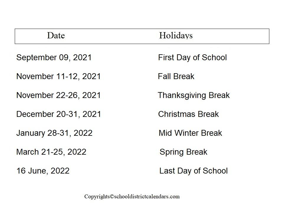 Hillsboro County School District Proposed Calendar 2021-2022