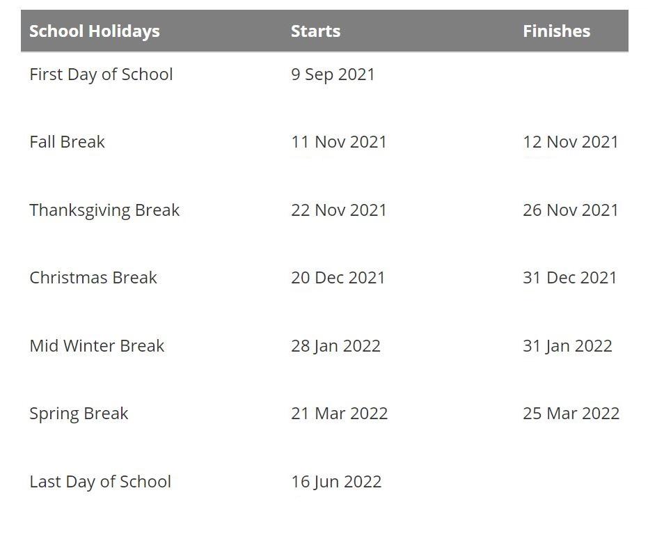 Hillsboro School District 2021 2022 Holidays Calendar
