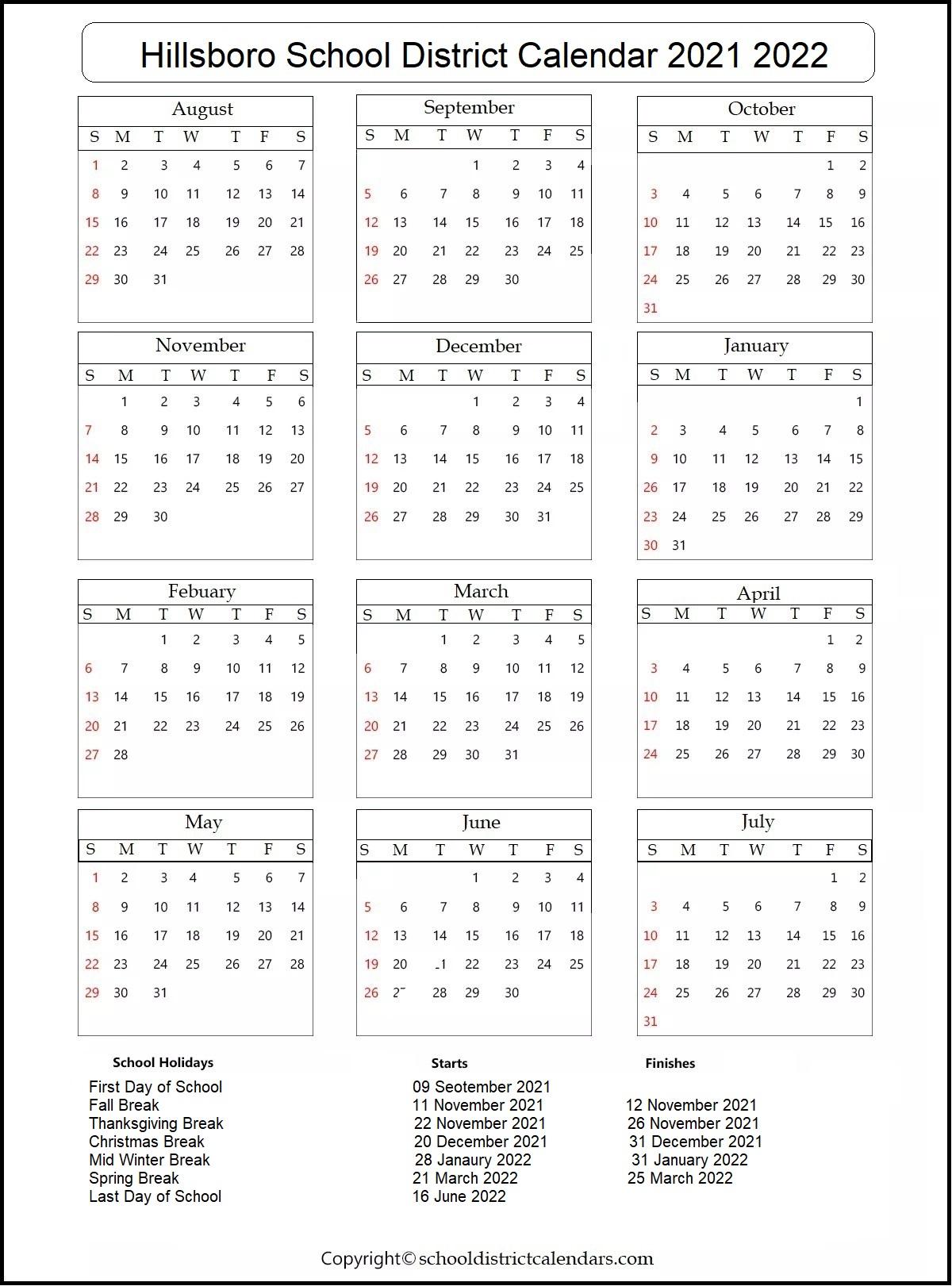 Hillsboro School District Calendar 2021 2022