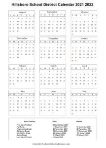 Hillsboro School District, Oregon Calendar Holidays 2021-2022