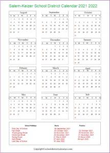 Salem-Keizer School District, Oregon Calendar Holidays 2021-2022