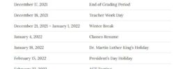 Washoe School District 2021-2022 Holidays Calendar
