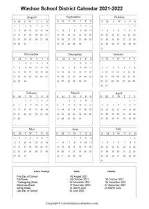 Washoe School District, Nevada Calendar Holidays 2021-2022
