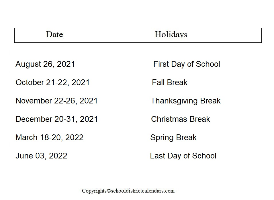 West Ada County School District Proposed Calendar 2021-2022