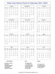 West Ada School District Calendar 2021 2022