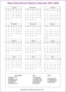West Ada School District, Idaho Calendar Holidays 2021 2022
